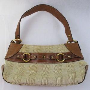 Etienne Aigner Women's Baguette Leather Jute Bag